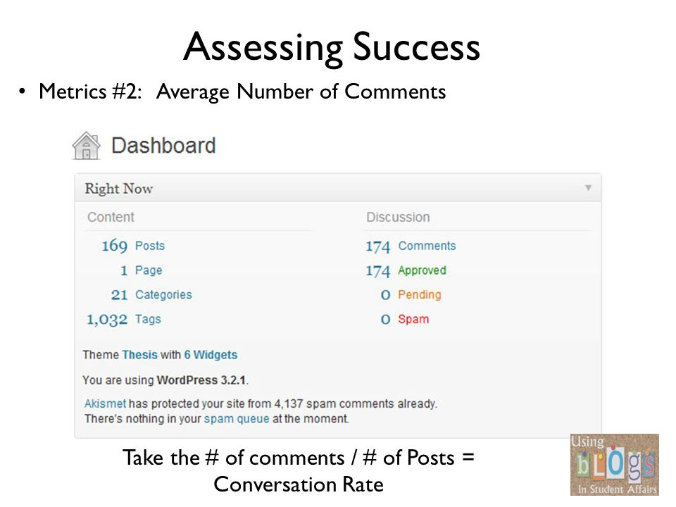 Assessing Success Metrics #2: Average Number of Comments Take the # of comments / # of Posts = Conversation Rate