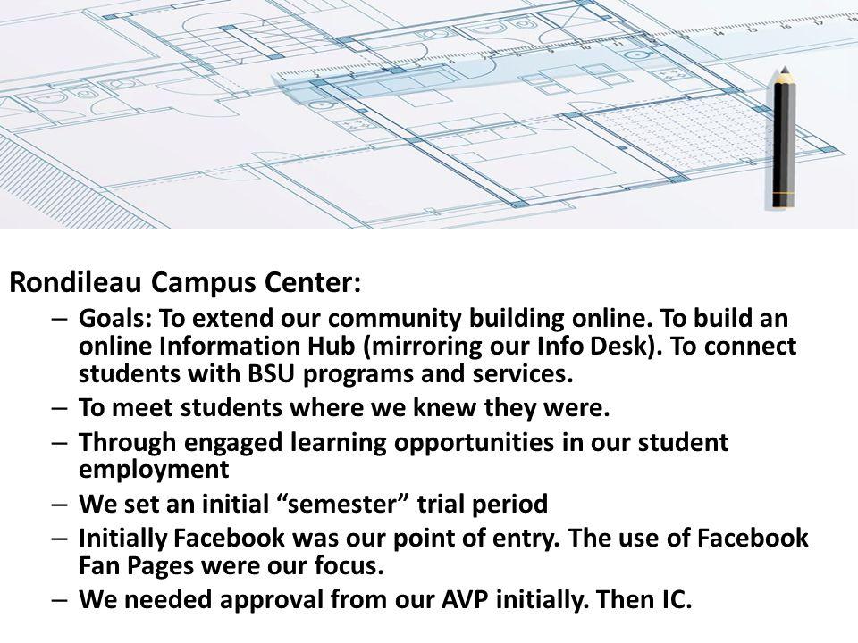 Rondileau Campus Center: – Goals: To extend our community building online.