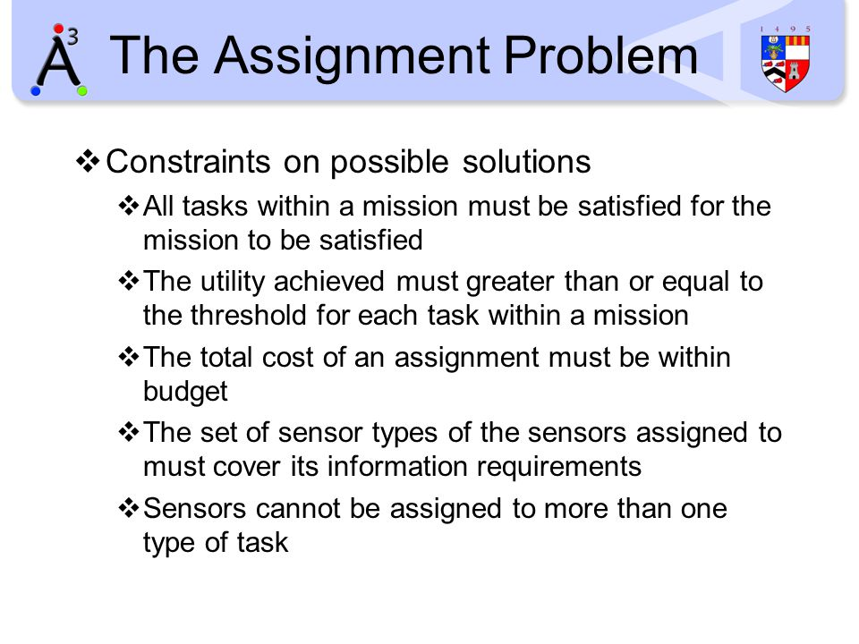 The Assignment Problem  Constraints on possible solutions  All tasks within a mission must be satisfied for the mission to be satisfied  The utilit