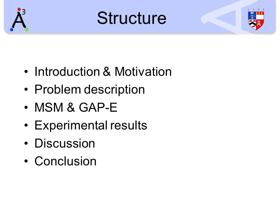Structure Introduction & Motivation Problem description MSM & GAP-E Experimental results Discussion Conclusion