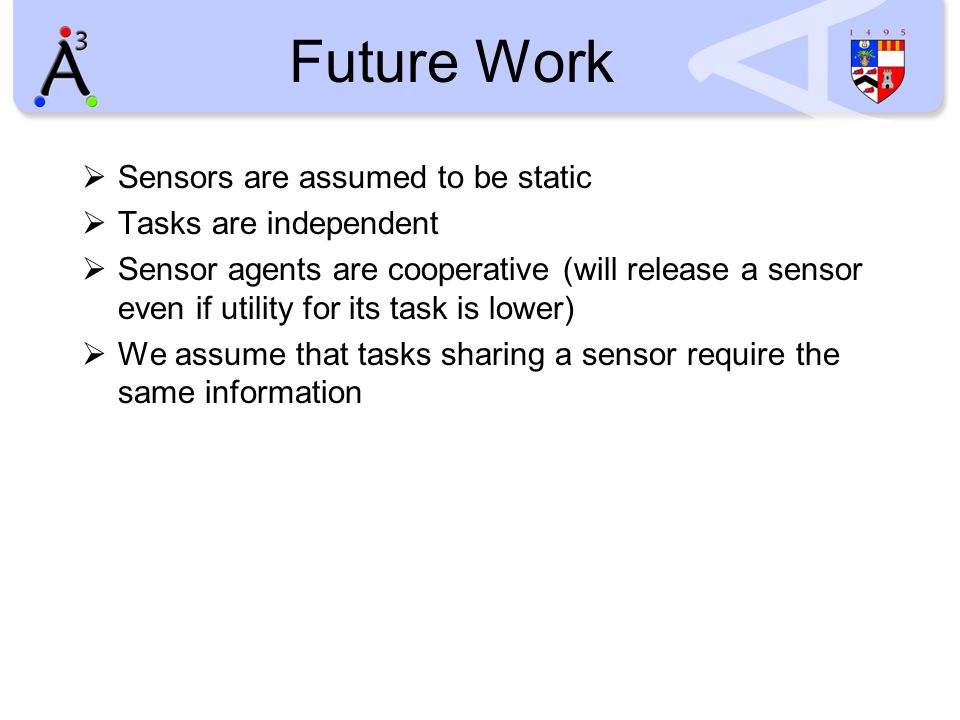 Future Work  Sensors are assumed to be static  Tasks are independent  Sensor agents are cooperative (will release a sensor even if utility for its task is lower)  We assume that tasks sharing a sensor require the same information