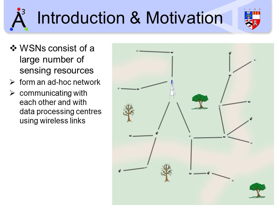 Introduction & Motivation  WSNs consist of a large number of sensing resources  form an ad-hoc network  communicating with each other and with data