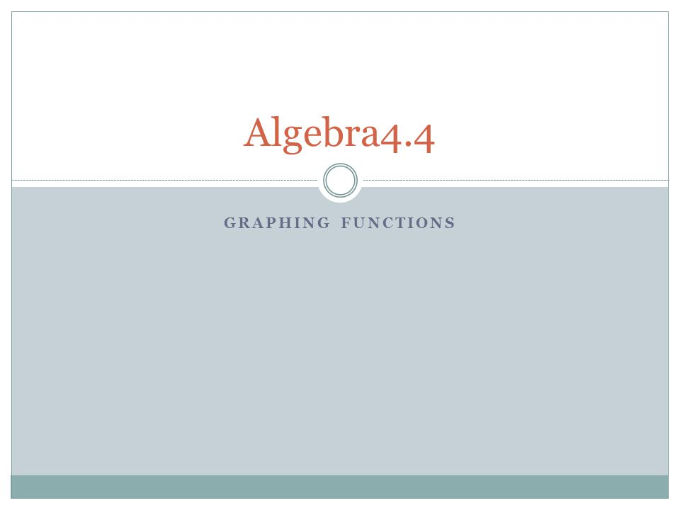 GRAPHING FUNCTIONS Algebra4.4