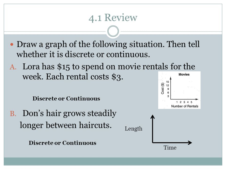 4.1 Review Draw a graph of the following situation.