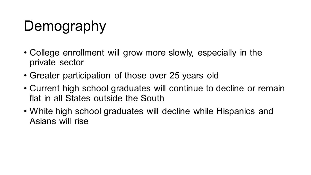 Demography College enrollment will grow more slowly, especially in the private sector Greater participation of those over 25 years old Current high school graduates will continue to decline or remain flat in all States outside the South White high school graduates will decline while Hispanics and Asians will rise