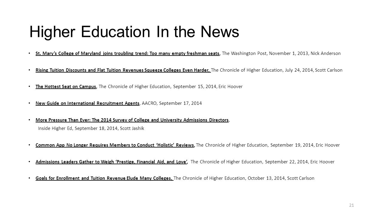 Higher Education In the News St.