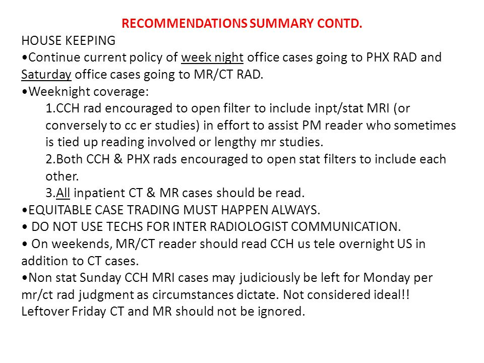RECOMMENDATIONS SUMMARY CONTD.