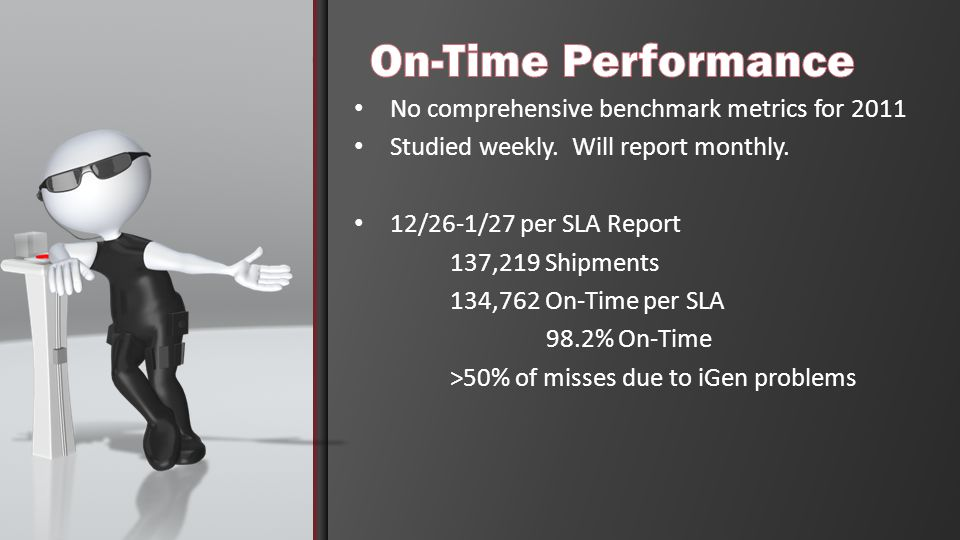 No comprehensive benchmark metrics for 2011 Studied weekly.