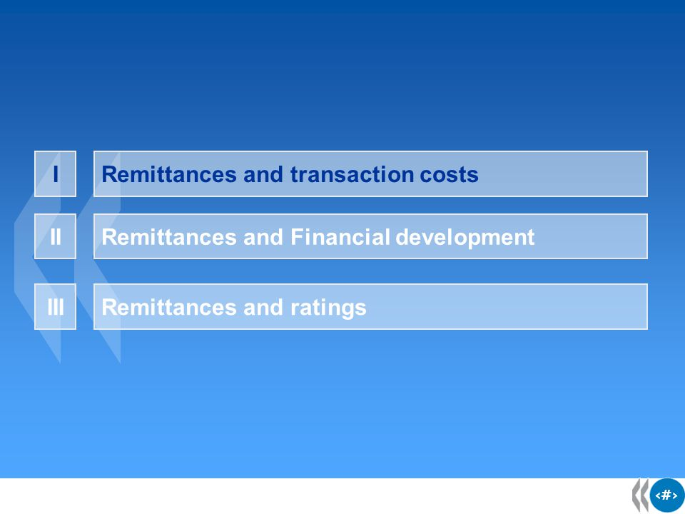 4 4 4 Transaction costs for remittances have been steadily declining at varying pace  Early 1990s, the cost of sending remittances was about 15% of the amount sent  In 2004, the average cost to send US$200 was down to 7.6% Source: Orozco (2004)