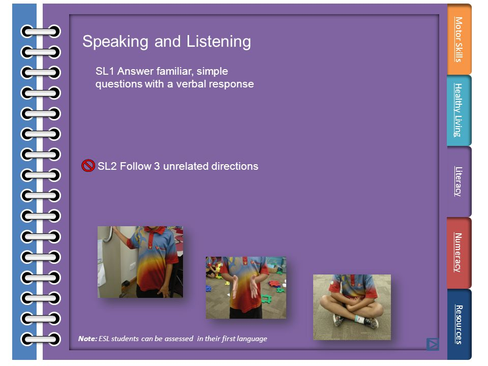 Speaking and Listening SL1 Answer familiar, simple questions with a verbal response SL2 Follow 3 unrelated directions Resources Note: ESL students can be assessed in their first language Motor Skills Healthy Living Literacy Numeracy