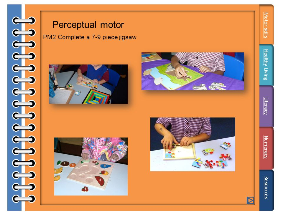 Perceptual motor PM2 Complete a 7-9 piece jigsaw Resources Motor skills HealthHealthy Living Literacy Numeracy