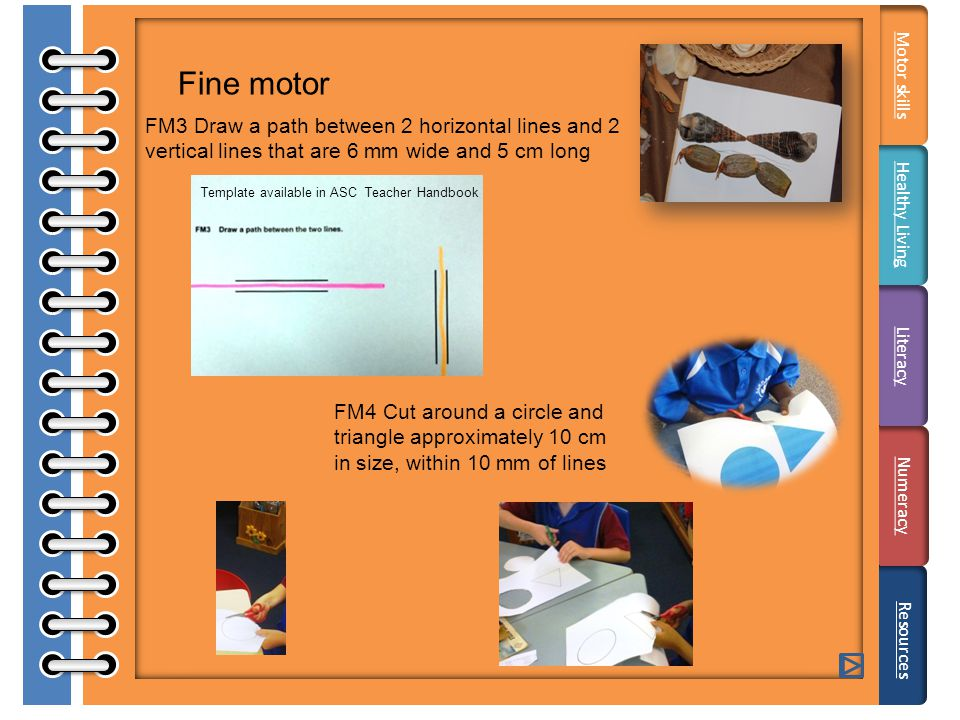 Fine motor FM3 Draw a path between 2 horizontal lines and 2 vertical lines that are 6 mm wide and 5 cm long FM4 Cut around a circle and triangle approximately 10 cm in size, within 10 mm of lines Literacy Resources Motor skills Healthy Living Numeracy Template available in ASC Teacher Handbook