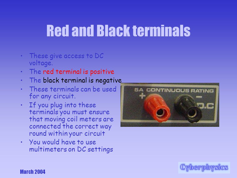 March 2004 Red and Black terminals These give access to DC voltage.