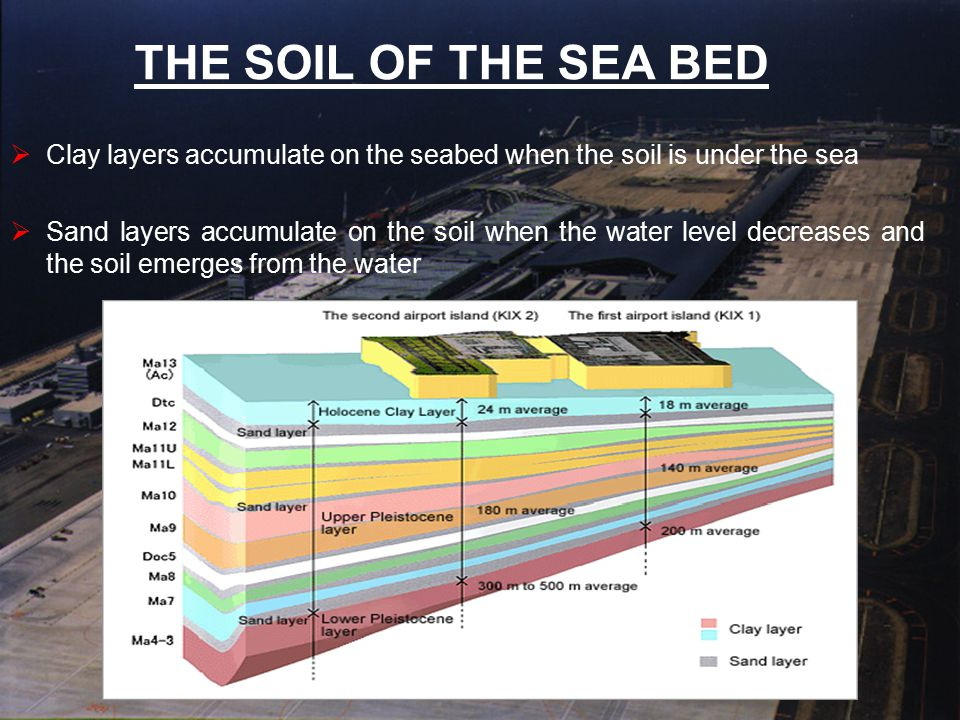 THE SOIL OF THE SEA BED  Clay layers accumulate on the seabed when the soil is under the sea  Sand layers accumulate on the soil when the water leve