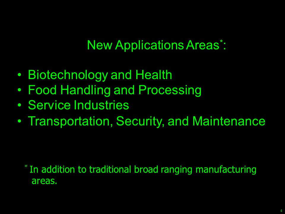 4 New Applications Areas * : Biotechnology and Health Food Handling and Processing Service Industries Transportation, Security, and Maintenance * In a