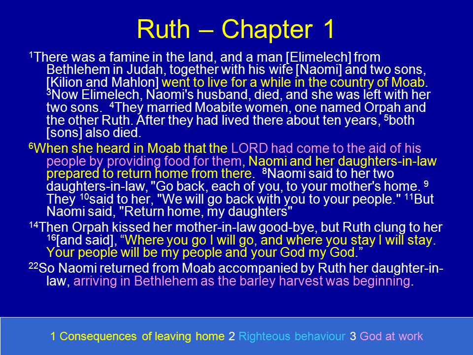 Ruth – Chapter 1 1 There was a famine in the land, and a man [Elimelech] from Bethlehem in Judah, together with his wife [Naomi] and two sons, [Kilion and Mahlon] went to live for a while in the country of Moab.