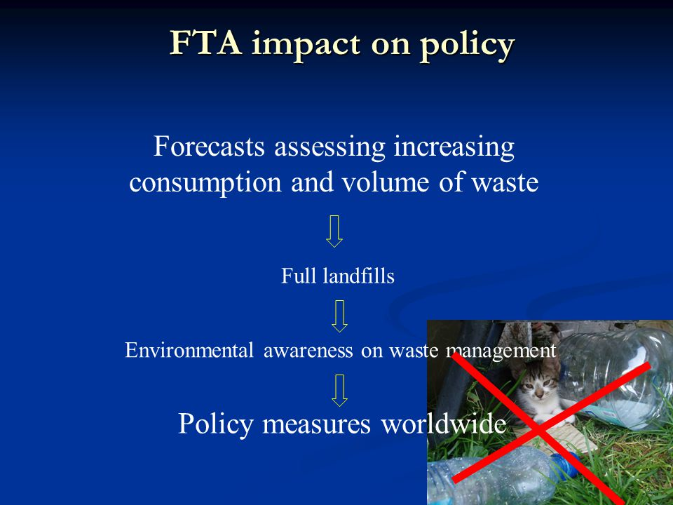 FTA impact on policy Forecasts assessing increasing consumption and volume of waste Full landfills Environmental awareness on waste management Policy measures worldwide