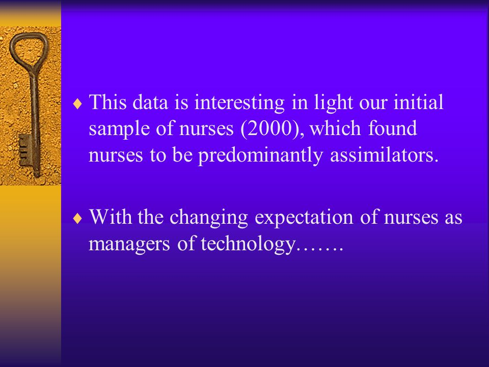  This data is interesting in light our initial sample of nurses (2000), which found nurses to be predominantly assimilators.  With the changing expe
