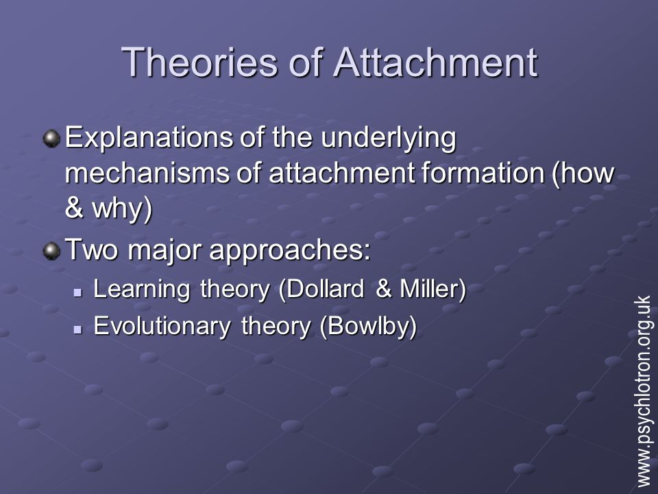 Theories of Attachment Explanations of the underlying mechanisms of attachment formation (how & why) Two major approaches: Learning theory (Dollard & Miller) Learning theory (Dollard & Miller) Evolutionary theory (Bowlby) Evolutionary theory (Bowlby) www.psychlotron.org.uk
