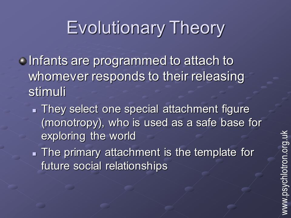 Evolutionary Theory Infants are programmed to attach to whomever responds to their releasing stimuli They select one special attachment figure (monotr