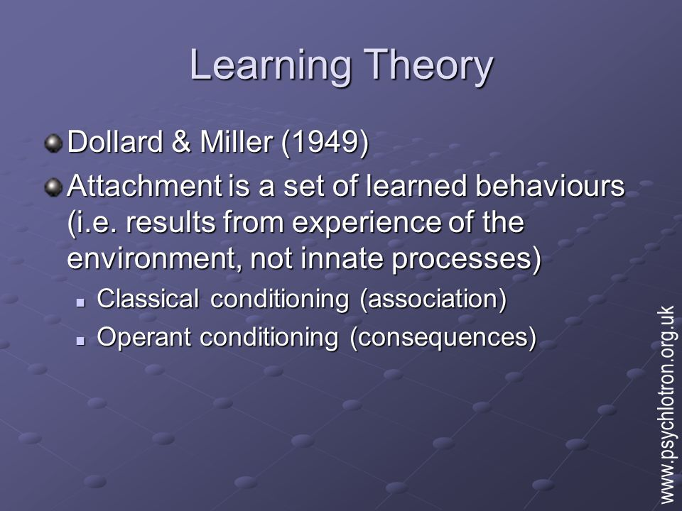 Learning Theory Dollard & Miller (1949) Attachment is a set of learned behaviours (i.e. results from experience of the environment, not innate process