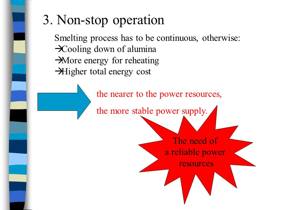 3. Non-stop operation the nearer to the power resources, the more stable power supply. The need of a reliable power resources Smelting process has to