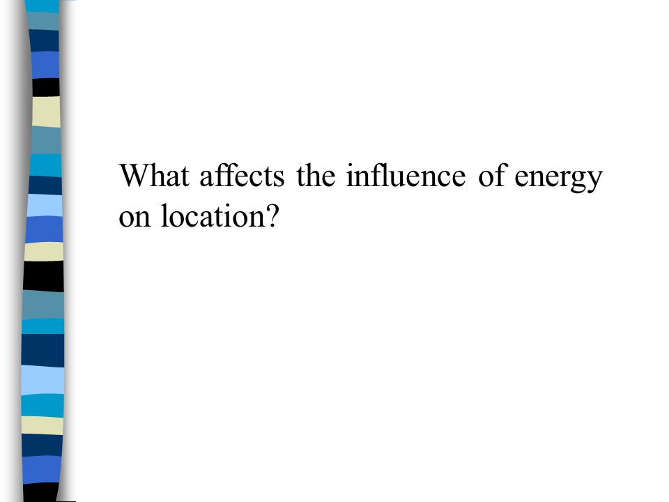 What affects the influence of energy on location?