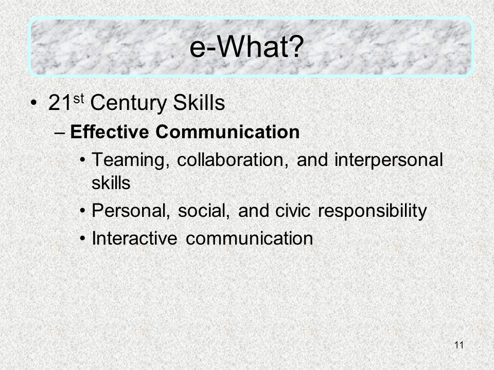 11 e-What? 21 st Century Skills –Effective Communication Teaming, collaboration, and interpersonal skills Personal, social, and civic responsibility I