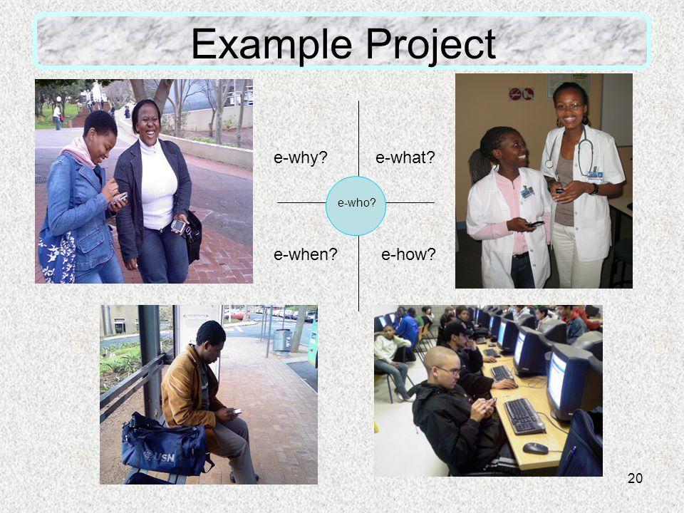 20 Example Project e-why e-what e-how e-when e-who