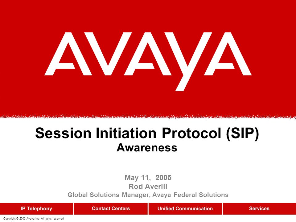 12 SIP Messages Requests (Methods) REGISTER –Register contact information INVITE, ACK, CANCEL –Setting up sessions BYE –Terminating sessions OPTIONS –Querying servers about their capabilities SUBSCRIBE, NOTIFY (RFC 3265) –Event notification framework MESSAGE (RFC 3428) –Instant messages Responses 1xx: Provisional –request received, continuing to process the request 2xx: Success –the action was successfully received, understood, and accepted 3xx: Redirection –further action needs to be take in order to complete the request 4xx: Client Error –the request contains bad syntax or cannot be fulfilled at this server 5xx: Server Error –the server failed to fulfill an apparently valid request 6xx: Global Failure –the request cannot be fulfilled at any server
