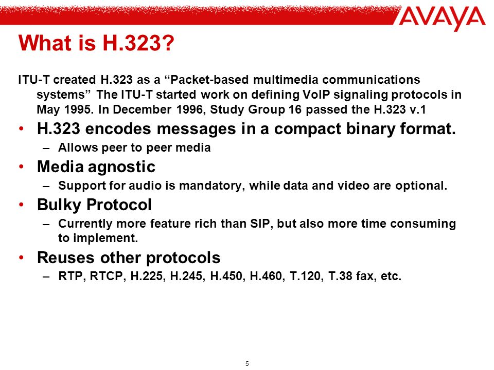 6 H.323 versus SIP Both define a general framework for call control features.