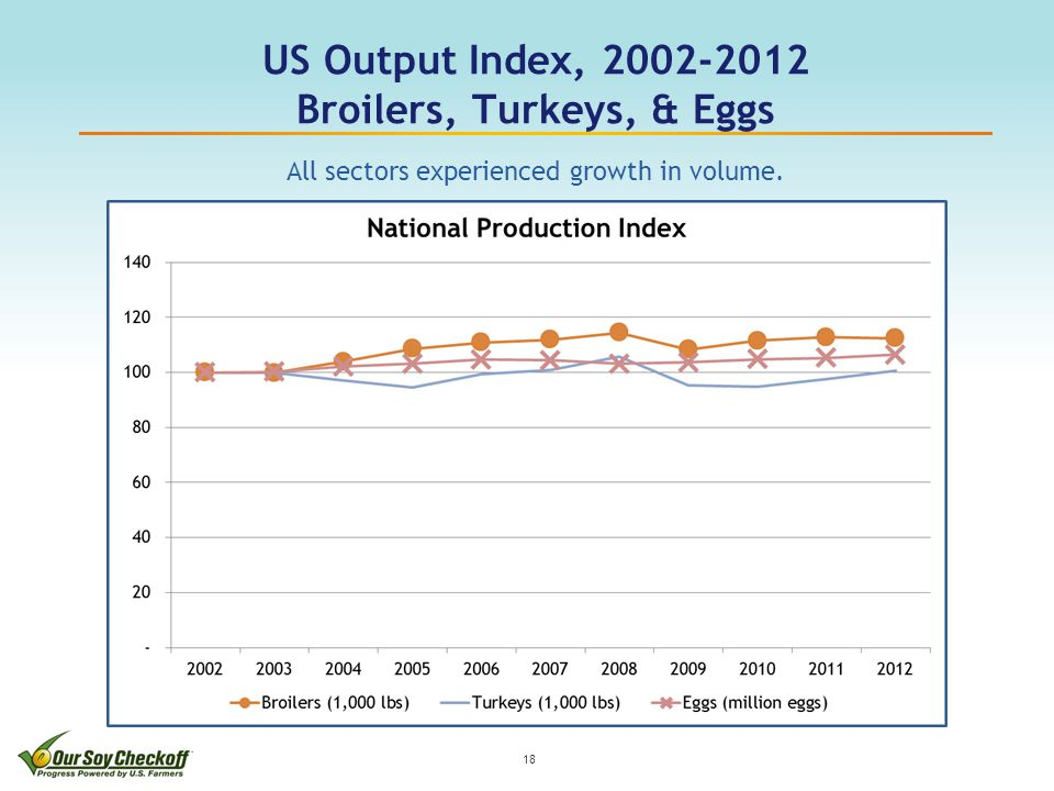 US Output Index, 2002-2012 Broilers, Turkeys, & Eggs 18 All sectors experienced growth in volume.