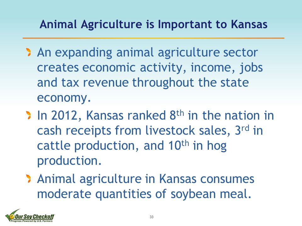 Animal Agriculture is Important to Kansas An expanding animal agriculture sector creates economic activity, income, jobs and tax revenue throughout the state economy.