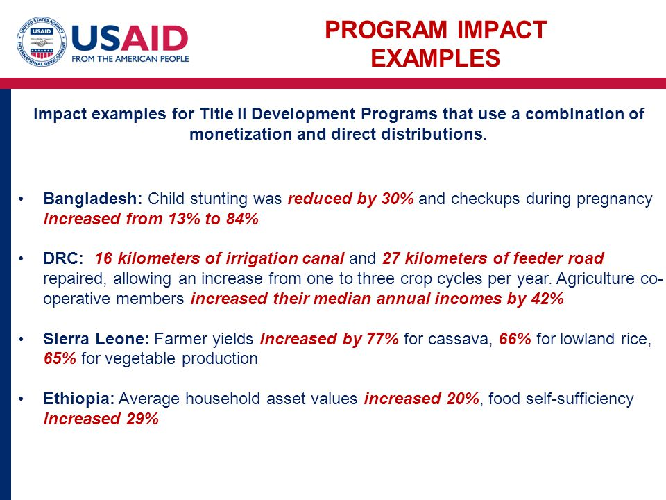 PROGRAM IMPACT EXAMPLES Bangladesh: Child stunting was reduced by 30% and checkups during pregnancy increased from 13% to 84% DRC: 16 kilometers of irrigation canal and 27 kilometers of feeder road repaired, allowing an increase from one to three crop cycles per year.