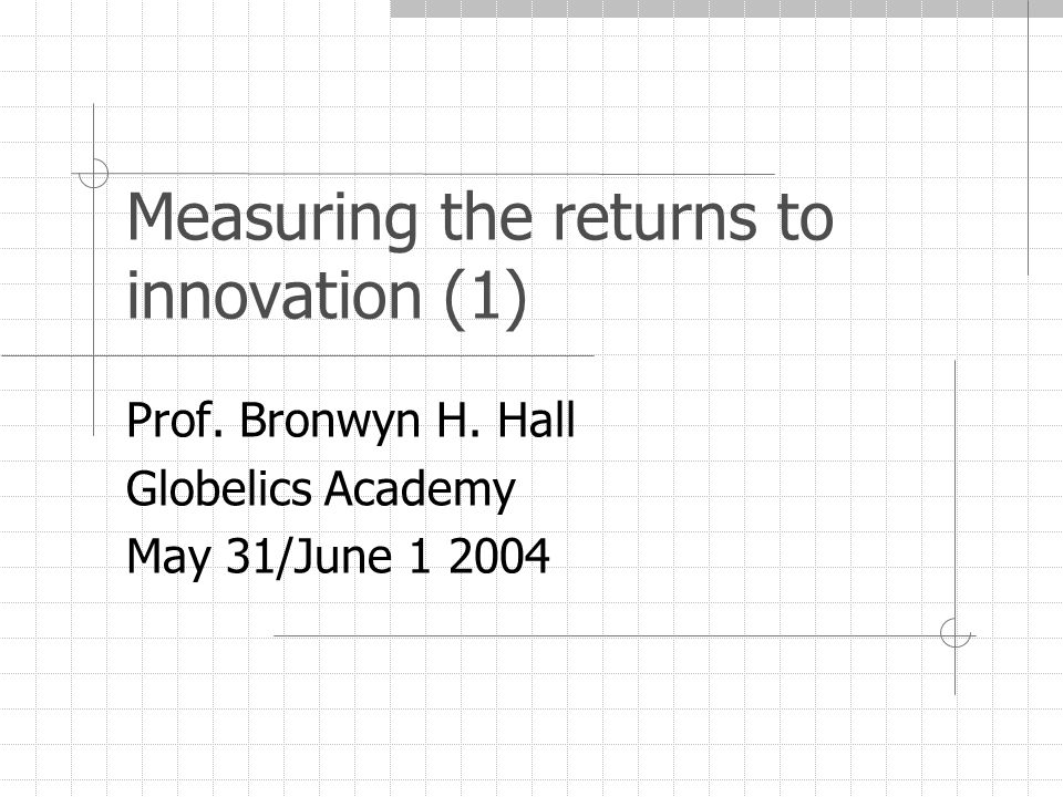 May/June 2004Globelics Academy - Lisbon32 Practice: hedonic regression V it (A it,K it ) = b t [A it + γK it ] Linear approx: log V it - log A it = log Q it = log b t + γ K it /A it Non linear: log Q it = log b t + log(1+γ t K it /A it ) Q it =V it /A it is Tobin's q b t = overall market level (approximately one) K it /A it = ratio of intangible innovation assets to tangible γ t = relative shadow value of K assets (γ = 1 if depreciation correct, investment strategy optimal, and no adjustment costs).