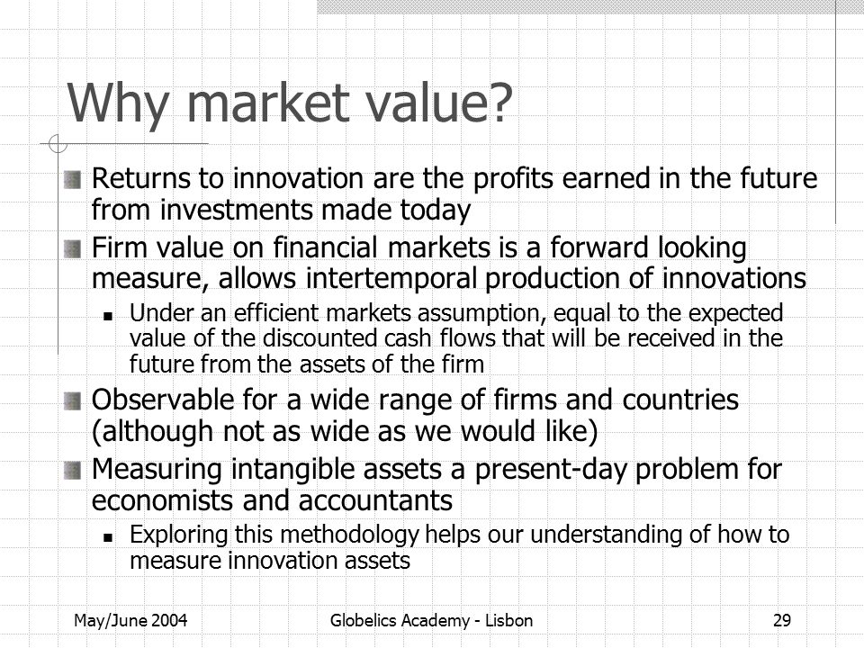 May/June 2004Globelics Academy - Lisbon29 Why market value.