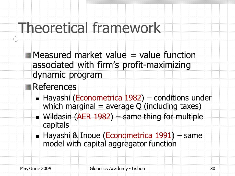 May/June 2004Globelics Academy - Lisbon30 Theoretical framework Measured market value = value function associated with firm's profit-maximizing dynamic program References Hayashi (Econometrica 1982) – conditions under which marginal = average Q (including taxes) Wildasin (AER 1982) – same thing for multiple capitals Hayashi & Inoue (Econometrica 1991) – same model with capital aggregator function