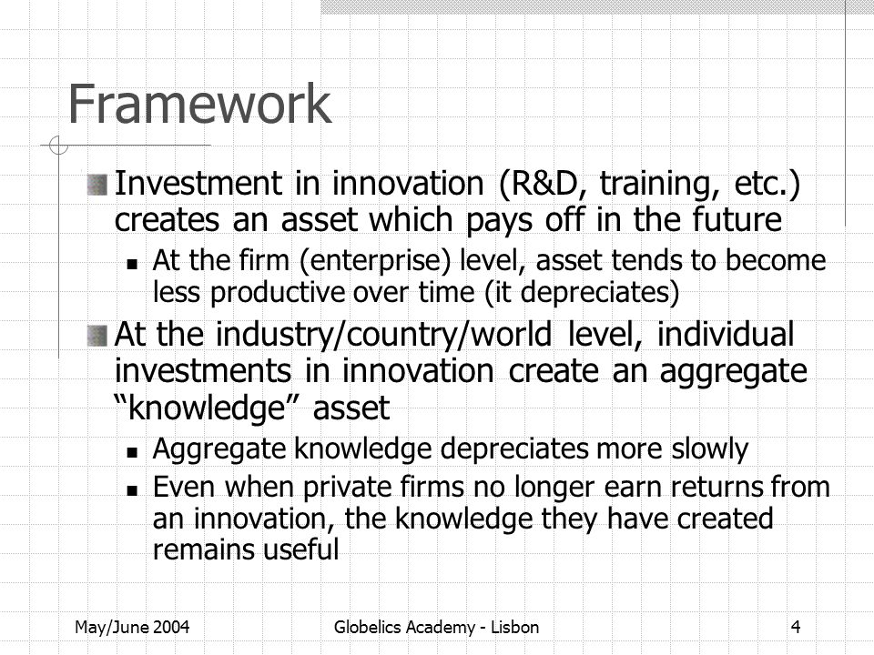 May/June 2004Globelics Academy - Lisbon4 Framework Investment in innovation (R&D, training, etc.) creates an asset which pays off in the future At the firm (enterprise) level, asset tends to become less productive over time (it depreciates) At the industry/country/world level, individual investments in innovation create an aggregate knowledge asset Aggregate knowledge depreciates more slowly Even when private firms no longer earn returns from an innovation, the knowledge they have created remains useful