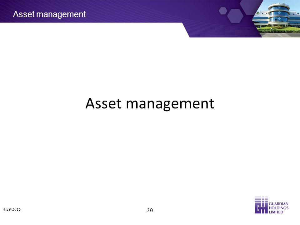 Asset management 4/29/2015 30 Asset management