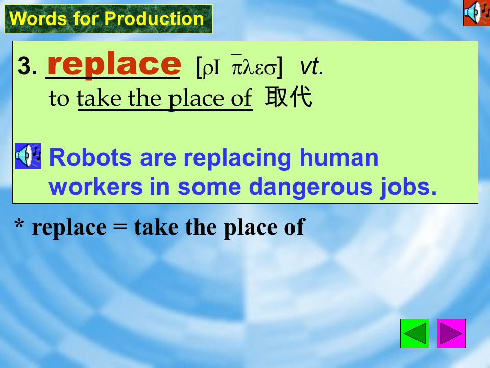 Words for Production 3.replace [ rI`ples ] vt.