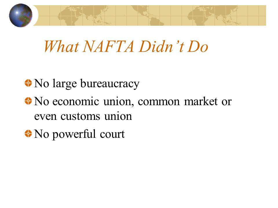What NAFTA Didn't Do No large bureaucracy No economic union, common market or even customs union No powerful court