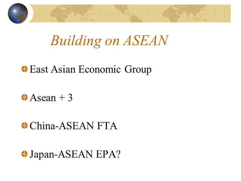 Building on ASEAN East Asian Economic Group Asean + 3 China-ASEAN FTA Japan-ASEAN EPA