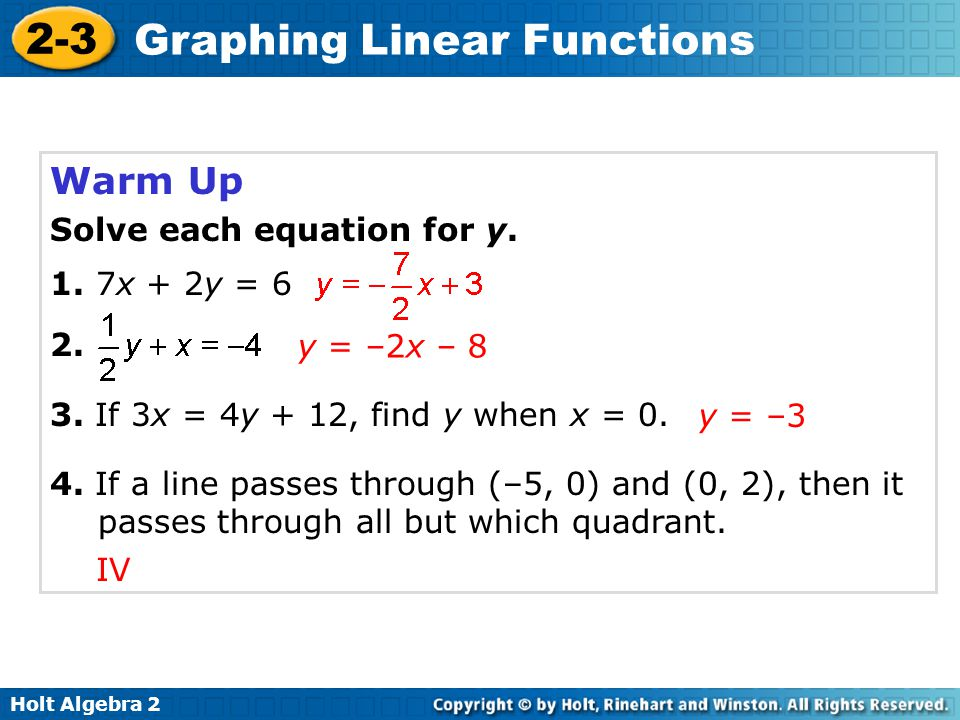 Holt Algebra 2 2-3 Graphing Linear Functions Warm Up Solve each equation for y. 1. 7x + 2y = 6 2. 3. If 3x = 4y + 12, find y when x = 0. 4. If a line