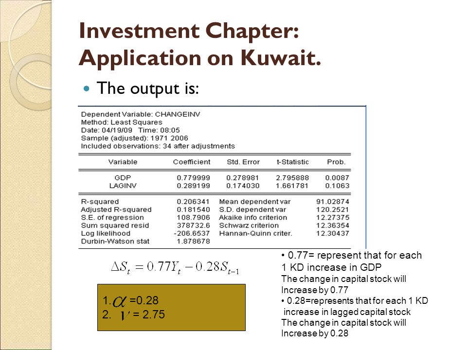 Investment Chapter: Application on Kuwait. The output is: 1.