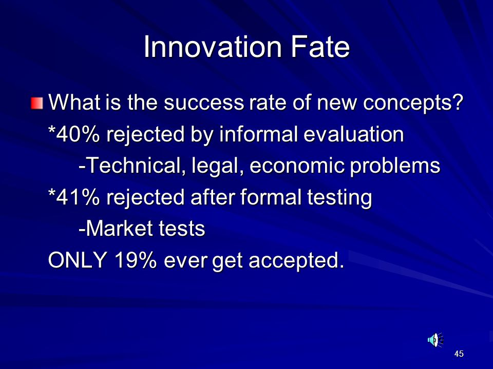 45 Innovation Fate What is the success rate of new concepts? *40% rejected by informal evaluation *40% rejected by informal evaluation -Technical, leg