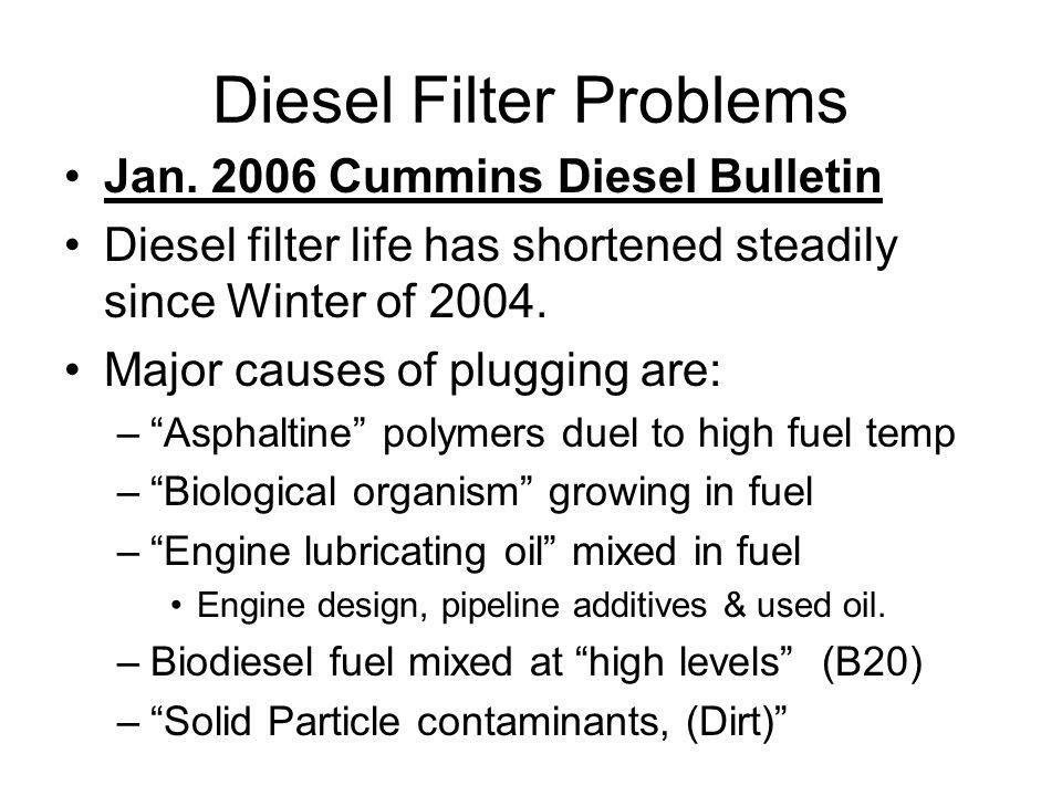 Diesel Filter Problems Jan. 2006 Cummins Diesel Bulletin Diesel filter life has shortened steadily since Winter of 2004. Major causes of plugging are: