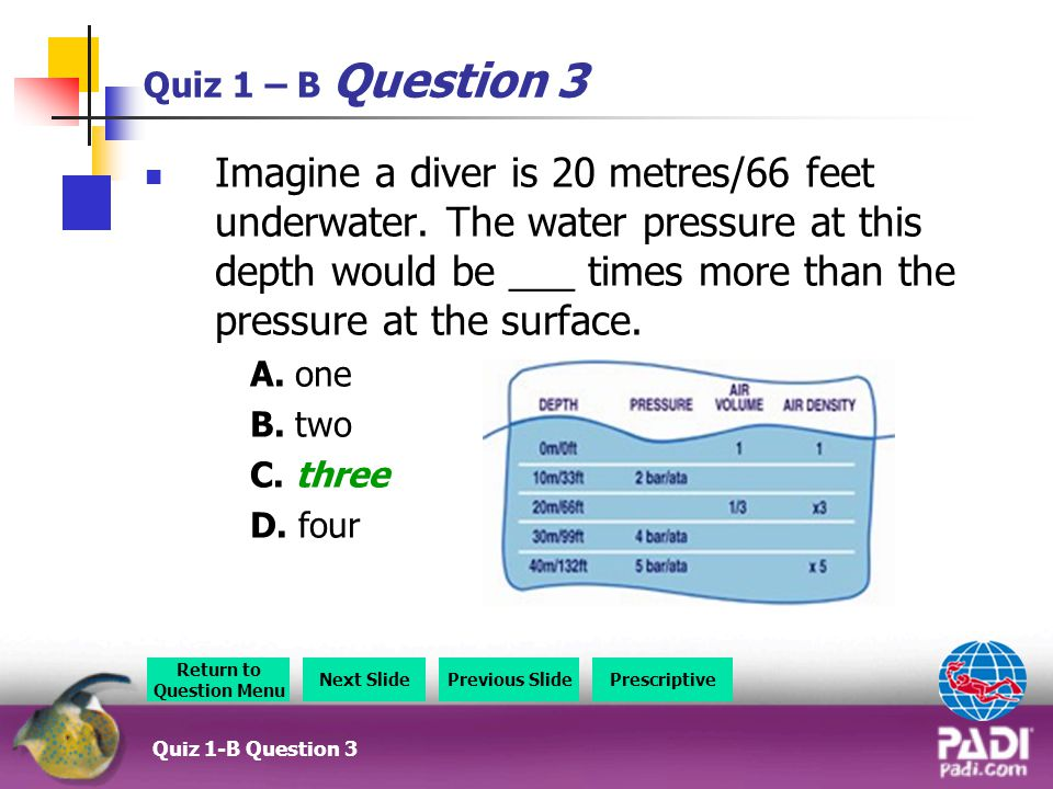 Quiz 1 – B Question 3 Imagine a diver is 20 metres/66 feet underwater.