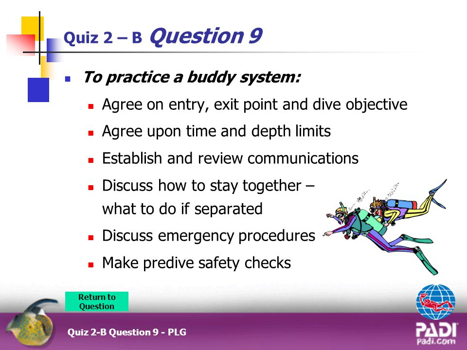 Quiz 2 – B Question 9 To practice a buddy system: Agree on entry, exit point and dive objective Agree upon time and depth limits Establish and review communications Discuss how to stay together – what to do if separated Discuss emergency procedures Make predive safety checks Return to Question Quiz 2-B Question 9 - PLG