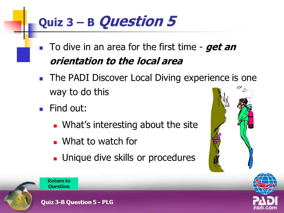 Quiz 3 – B Question 5 To dive in an area for the first time - get an orientation to the local area The PADI Discover Local Diving experience is one way to do this Find out: What's interesting about the site What to watch for Unique dive skills or procedures Quiz 3-B Question 5 - PLG Return to Question