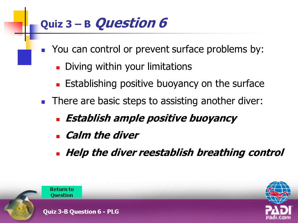 Quiz 3 – B Question 6 You can control or prevent surface problems by: Diving within your limitations Establishing positive buoyancy on the surface There are basic steps to assisting another diver: Establish ample positive buoyancy Calm the diver Help the diver reestablish breathing control Return to Question Quiz 3-B Question 6 - PLG